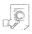 document paper with magnifying glass vector image
