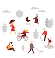 fall activity cartoon people in autumn park vector image vector image