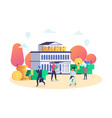 finance and bank building with people customers vector image vector image