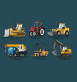 flat construction machines vector image