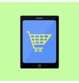 Flat style touch pad with shopping cart vector image vector image