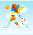 flying kite and clouds on a blue sky summer vector image vector image