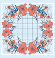 Foral red poppy scarf geometric design with basic
