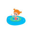 funny little girl swimming with inflatable ring vector image vector image