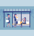 girls at bus stop after big shopping vector image