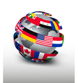 Globe made of a strip of flags vector image vector image