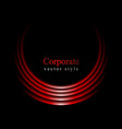 Glow red curve logo on black background vector image vector image