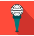 Golf ball on a tee flat icon vector image