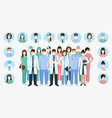 group doctors and nurses characters in masks vector image vector image