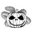 halloween pumpkin with snake cartoon vector image