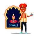indian child boy in turban with diwali banner vector image