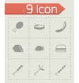 meat icon set vector image vector image