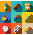 Medicine drugs flat icons set - pillsbox tablets vector image vector image