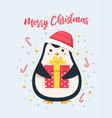 merry christmas gift penguin vector image