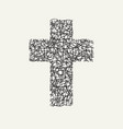 monochrome design cross with butterfly wing vector image