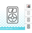 mp3 player simple black line icon vector image vector image
