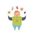 overweight boy juggling fast food dishes cute vector image vector image