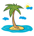 palm tree on island with sun and clouds on vector image vector image