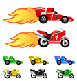 race car and motorcycle vector image