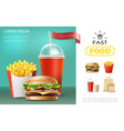 realistic fast food template vector image