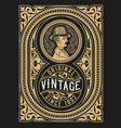 retro label design with gentleman and flora vector image vector image