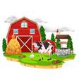 scene with farm animals on the farm vector image