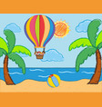 scene with kids riding on balloon over the sea vector image vector image