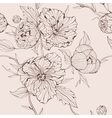 sepia seamless background with peony vector image vector image