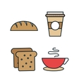 set food line isolated icons vector image vector image