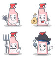 set of cleaner character with doctor money bag vector image vector image