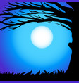 siluet branches tree against night sky in vector image vector image
