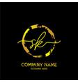 sk initial handwriting colorful logo template vector image vector image