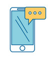 smartphone device with speech bubble vector image vector image