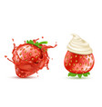strawberries with splash and whipped cream vector image vector image