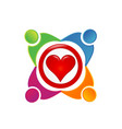 team of loving people heart logo vector image