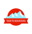 tour to mountains - coat arm round blazon with vector image vector image