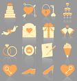 Wedding color icons with reflect vector image vector image