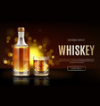 whiskey bottle and glass mockup promo ad banner vector image