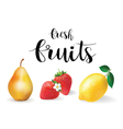 fresh fruit set realistic fruit lemon pear and vector image