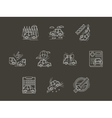 White line car insurance icons set vector image