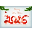 red happy new year ribbon on snowing background vector image