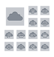 Cloud computing icon set deboss theme vector | Price: 1 Credit (USD $1)