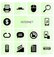 14 internet icons vector image vector image