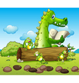 A crocodile and the three playful frogs vector image vector image