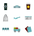 Airport check-in icons set flat style vector image vector image