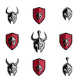 antique helmet and shield vector image vector image