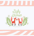 baby shower card with cute foxes couple vector image vector image