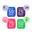 back to school set of colorful sale posters vector image vector image