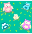 background with owls on brunches vector image vector image