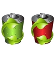 batteries with green recycling symbol vector image